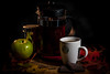 Coffee on a Fall day (kwtracyghostship) Tags: autumn kwtracyghostship tabletopphotography coffee strobes leaves apple whimsical 550exspeedlite 420exspeedlite beverage moody textures red yellow food green