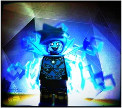 Day 3 (LegoKlyph) Tags: lego custom marvel comic villain shock electric volt lightning spark max spiderman blue mini figure brick block