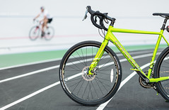 at velodrome (Andrey Baydak) Tags: bike bicycle cyclocross cannondale caadx limegreen cycling велотрек velodrome runningtrack 85mm bokeh dof