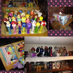 Relatively recently acquired/opened/reorganized stuff... (FrozenFractalsAllAround) Tags: pez dispensers finding nemo sea life dory dolls plushies persephone poodle frankenweenie disney ariel merida mother gothel lady tramp frozen barbie polar bears characters toad