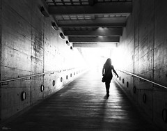 Hallo new week! (René Mollet) Tags: new woman underground blackandwhite bw backlight week urban urbanstreet unterführung street streetphotography shadow silhouette streetart station streetphotographiebw sunrise renémollet