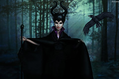 Giselle Majesty as Maleficent (ArLekin26113) Tags: giselle majesty maleficent integrity fashionroyalty fashiondoll nuface jasonwu forest raven sleepingbeauty villain witch horns disney cartoon fairytale