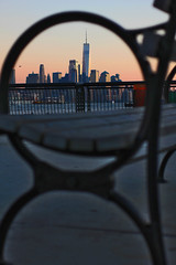 Different perspectives (katiegodowski_photography) Tags: nyc hoboken sunset nj city manhattan macro bench flickr canon amateurs amateur creative photography photographer photos world trade center explore travel