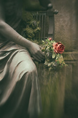 Red Rose - Waldfriedhof Cemetery (suzanne~) Tags: composer35 grave lensbaby waldfriedhof cemetery sculpture