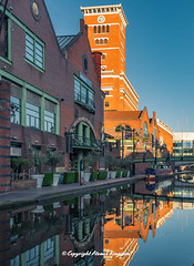 Brindleyplace (atomikkingdom) Tags: street water pavement center waterways boats walk town light tunnel birmingham canal narrowboat apartment blue uk cloud centre cars sky bright ideas accommodation happy moored