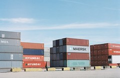 Shipping Containers, Columbia River (Caroline Kutchka Folger) Tags: shippingcontainer freight boxes colors geometry