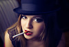 Baby did a bad bad thing (Giulia Valente) Tags: portrait portraiture lowkey woman beauty beautiful darkportrait shadow light dark mood moody alone cigarette confident hat story romance lips