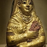 Roman Period Gilded Gesso Mummy Cartonnage of a Woman Hawara (possibly) Egypt 1st century CE thumbnail