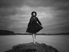 Deserted (Maren Klemp) Tags: fineartphotography fineartphotographer darkart blackandwhite monochrome selfportrait portrait woman lake water nature clouds sky dress hat ethereal evocative dreamy painterly conceptual surreal outdoors