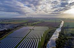 Northern Powerhouse (robmcrorie) Tags: gbrf coal train rail railway yorkshire killingley aire calder navigation 4n05 egg borough redcar 66709 solar farm sun cloud sky canal panels power station