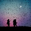 La búsqueda (una cierta mirada) Tags: sunset silhouettes moon fullmoon outdoors birds girls landscape scary square halloween