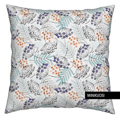 Berries and Leaves by Minikuosi (minikuosi) Tags: fabric patterndesign fallfabric fall autumn fallleaves berries pillow cushion spoonflower roosteryhome minikuosi