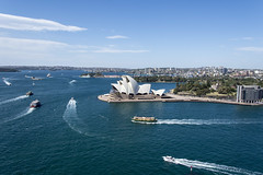 sydney harbour (Greg Rohan) Tags: eastsydney ferries boats blue seascape harbour sydneyharbour sea ocean water sydneyoperahouse operahouse sydney d7200 2017 boat bay city sky aerial view land trees