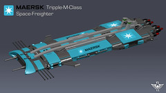 Maersk Tripple-M-Class Space-Freighter (CK-MCMLXXXI) Tags: lego moc freighter space spaceship cargo maersk sealand container ldd digital render povray