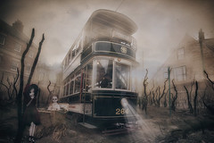 Tram Stop (brian_stoddart) Tags: surreal sky desolate transport tram figure trees misty beamish light colour weird gloomy