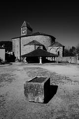 The Romanesque Byzantine church of St Jean Baptist built in the XIIth century. St Jean de Côle, Dordogne (Paul Timlett) Tags: village outdoors church landscape monochrome bnw blackandwhite leicaq leica dordogne france