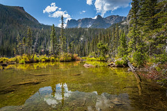 fern lake (Christian Collins) Tags: canoneos5dmarkiv ef24105mmf4lisusm reflection flattop mountain fern lake clouds sunny day rockymountainnationalpark colorado nationalpark co lakeside lakeshore relaxing calm trees summer 2017 september rockmountainnationalpark