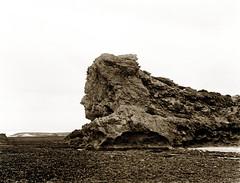 "17 Mar 1899 - ""Sphinx Rock"", Mornington Peninsula, Victoria, Australia (restored version) (aussiejeff) Tags: jeffc 1899 1890s sphinxrock morningtonpeninsula victoria australia bw bnw blackandwhite sepia aussiejeff slv statelibraryvictoria monotone weathered eroded beachscape markdaniel vintage antique old tone"