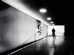Where should I go (René Mollet) Tags: underground street streetphotography shadow silhouette streetart station streetphotographiebw go aarau schwarzweiss renémollet urban urbanstreet lines