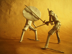 Battle (Marcos Origami) Tags: human figures warrior knight battle artwork kirigami origami norse viking