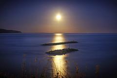 Harvest Moon (IWPICS) Tags: harvestmoon sidmouth devon east south west england gb jurassic coast moonshine rocks sea defence coastal country lyme bay