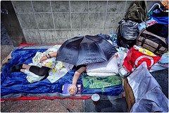 At Home on the Street (Steve Lundqvist) Tags: new york usa states united america manhattan stati uniti travel trip urban city urbanscape ny nyc loner broadway downtown street photography streets poverty place people homeless candid ghetto world outside persone streetphotography umbrella beggar beg looser hard life tough