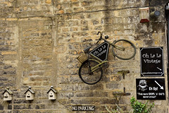 """No Parking"" (42jph) Tags: nikon d7200 uk england yorkshire haworth main street bicycle birdbox bird box sign old wall building"