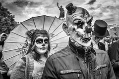 Coulrophobia (Mustafa Selcuk) Tags: 2017 october paris france fujifilm street streetphotographer streetphotography streetshooter travel xpro2 zombiewalk zombiwalk clown coulrophobia palyaço blackandwhite siyahbeyaz monochromatic monochrome bnw bw