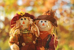 ~Scarecrows, corn rows, pumpkins on the vine...Leaves curl, wind swirls, fall is right on time!~ (nushuz) Tags: scarecrows sallyandsammy myporch vermont adorable bokehbackgroundfromtreesinmyyard dof somanycolors light autumn harvesttime