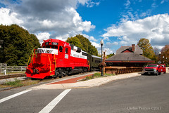 Posing by Frostburg (Wheelnrail) Tags: wm western maryland scenic railway train trains emd gp30 railroad circus red fall autumn depot station turntable passenger rails