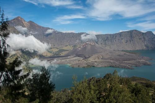 Segara Anak crater lake. Mount Rinjani on the left.