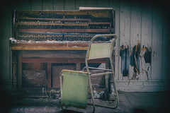 Low Key (Martyn.Smith.) Tags: urbex decay abandoned piano chapel capel chair decayed derelict shadows vignette decaying ruins abandonment abandonedpiano nik analogue efex flickr image photo