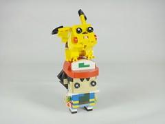 Ash: I'm going to become a weightlifter with my neck! (YOS Bricks) Tags: ash satoshi pokémon pikachu brickheadz