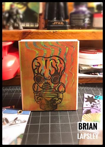 New Gelli Plate & Rubber Stamped Block!!! Metaluna for the win!!!! #gelliart #rubberstamp #art #craft #handmade #brianlapsley