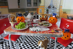 3. Halloween Table (Foxy Belle) Tags: doll halloween american girl molly diorama 14 scale costume party miniatures dollhouse kitchen food pumpkin fall holiday story ag historical