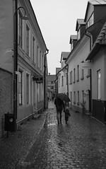 A walk in the rain (Yvonne L Sweden) Tags: blackandwhite höst sweden streetphoto visby gotland october autumn