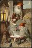 Julemotiv tegnet av Jenny Nystrøm (National Library of Norway) Tags: nasjonalbiblioteket nationallibraryofnorway postkort postcards julekort christmascards jul christmas jennynystrøm kartongkort overrekkelseskort fjøsnisser julegrøt mus mice