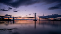 Firth of Forth (Bastian.K) Tags: schottland loxia2128 loxia 21mm 28 zeiss carl czj scotland scott scotts scottish sunset sundown sunrise sun bridge steel suspension hängebrücke south north queensferry edinburgh firth forth road rail nisi filter m1 70mm system nd1000 1000x nd30