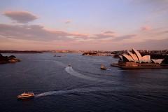 Sydney_sunset on harbour bridge (moniq84) Tags: opera house sunset sunrise harbour bridge skyscape skyscapes sea water boats circular quay sydney australia movement cityscape cityscapes landscape landscapes pink blue clouds