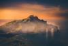 Game of Thrones (cristina.g216) Tags: paisaje landscape niebla fog atarcdecer sunset luna moon roca stone verde green naranja orange nubes clouds mar sea