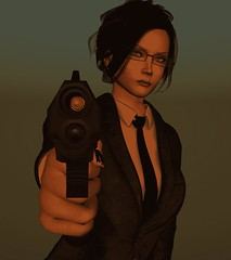 Agency Rep (alexandriabrangwin) Tags: alexandriabrangwin secondlife 3d cgi computer graphics virtual world agent secret federal fbi cia undercover walther p99 pistol loaded aiming arrest suit business tie hair updo glasses female woman
