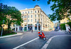 Red Scooter in Leipzig, Germany (` Toshio ') Tags: toshio germany leipzig europe europeanunion european german scooter red street architecture city building fujixe2 xe2 bicycle bike