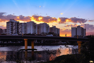 Sunset with buildings and clouds