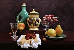 The Best is Autumn (Esther Spektor - Thanks for 12+millions views..) Tags: stilllife naturemorte bodegon naturezamorta stilleben naturamorta composition creativephotography artisticphoto arrangement autumn tabletop fruit paer grape cluster wine plate jar bottle stand goblet napkin ceramics glass pattern availablelight green yellow burgundy white brown estherspektor canon