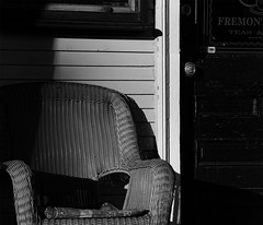 front porch chair :: 2 (dotintime) Tags: front porch chair black white rattan bamboo cane wicker woven curve cushion seat rest light shadow dotintime meganlane
