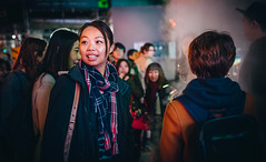 Smiles (Viv Lynch) Tags: 2017 canada downtown event nuitblanche ontario toronto art culture party bayst queenwest eatoncentre oldcityhall street steam urban firstnations pictographs legend people strangers streetphotography peopleoftoronto visualarts girl asian woman protest activism lifeonneebahgeezis
