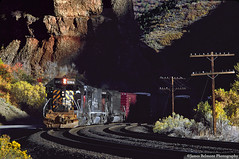CHROM in the Red Narrows (jamesbelmont) Tags: railway sd40t2 sd45t2 sd40r drgw sp riogrande southernpacific chrom rednarrows spanishforkcanyon utah rio
