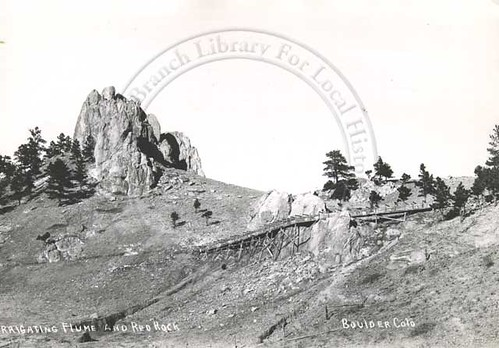 Photo - Silver Lake Ditch flume below Red Rocks (1900-1920).