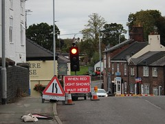 Crewe Road Wheelock (Wildlife Terry) Tags: wheelock sandbach amateurphotography wildlifeandnature cheshireeast road works temporary lights again roadsign cheshire