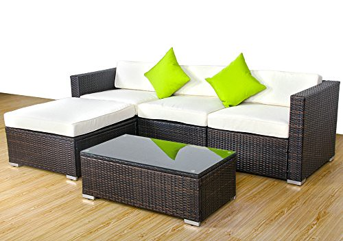5pc Outdoor Patio Sofa Set Furniture Pe Wicker Rattan Deck Couch Gradient Brown Review